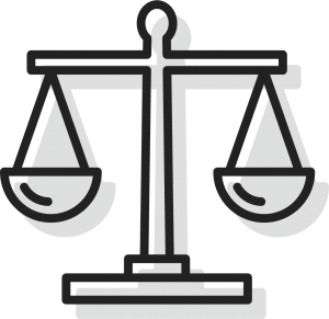 An icon of scales of justice, representiing Pro Bono work for Bryant Law in Fairhope Alabama